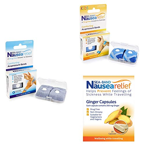 Sea-Band Family Bundle - 2X Nausea Relief Adult and Child Wristband, 1x Nausea Relief Capsules, 1x Mama Ginger Lozenge