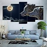ZWXDMY 5 Leinwand Bilder,Familie Wolf Unter Moonlight Tier