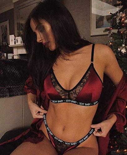 FPBY Conjuntos De Lencería Lencería Sexy Sexy Traje Sexy De Tres Puntos Tentación-Vino Rojo_S