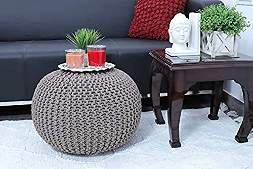 Vijay Handicraft Launch Pouf Puffy for Living Room Sitting Round Ottoman Bean Filled Stool for Foot Rest Home Furniture Rope Twisted Bean Bag Design 14 inch Height 1Pcs Medium Silever