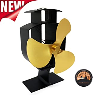 ZCSPFAIRY 3 Blade Stove Fan Heat Powered Fan for Wood/Log Burners or Fireplace – Quiet Design – Eco-Friendly and Economical – Gold/Silver