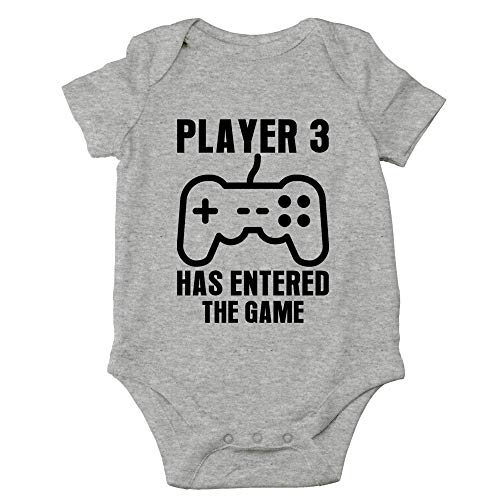 Crazy Bros Tee's Player 3 Has Entered The Game - Gamer Baby Funny Cute Novelty Infant One-Piece Baby Bodysuit (6 Months, Heather Grey)