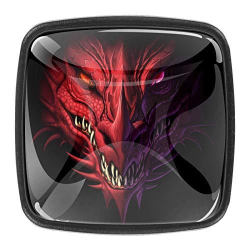 Pomos de cajón para armarios, armarios, mesitas de noche, 4 piezas de dragón enojado