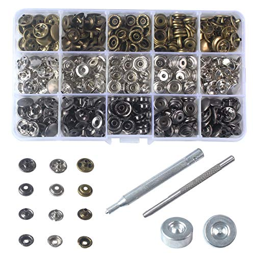 INNETOC 60 Sets Metal Line 24 15mm 5/8' Metal Snap Fastener Leather Rapid Rivet Button Sewing with Punch Set Tool(15mm, Mixed)