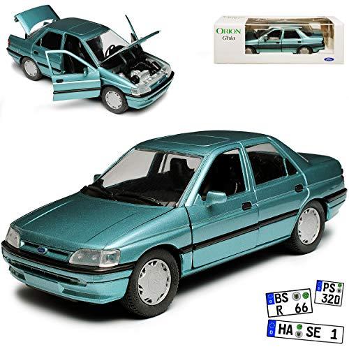 Schabak Ford Escort Orion GHIA Limousine 5 Türer Hell Grün Grau Metallic 5. Generation 1990-2000 1/24 Modell Auto mit individiuellem Wunschkennzeichen