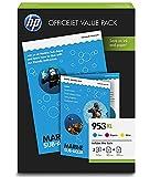 HP 953XL 1CC21AE, Paquete de Ahorro para Oficina, Pack de 3 Cartuchos de Tinta de Alta Capacidad Originales, Cian, Magenta y Amarillo, y 75 Hojas de Papel de Impresión A4