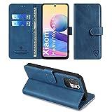 xinyunew Wallet Serie Handyhülle für Xiaomi Redmi Note 10 5G und Poco M3 Pro 5G Hülle Leder Flip Hülle Cover Schutzhülle für Xiaomi Redmi Note 10 5G und Poco M3 Pro 5G Tasche, Blau