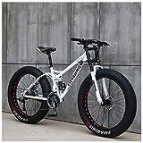 NENGGE Mountain Bikes, 26 Inch Fat Tire Hardtail Mountain Bike, Dual Suspension Frame and Suspension Fork All Terrain Mountain Bike,21 Speed,White Spoke