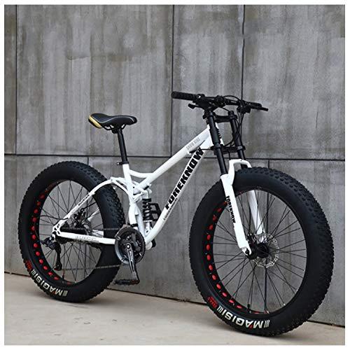 Nengge Mountainbike MTB, 26 inch vette banden, fiets met schijfremmen, frame van koolstofstaal, voor dames en heren