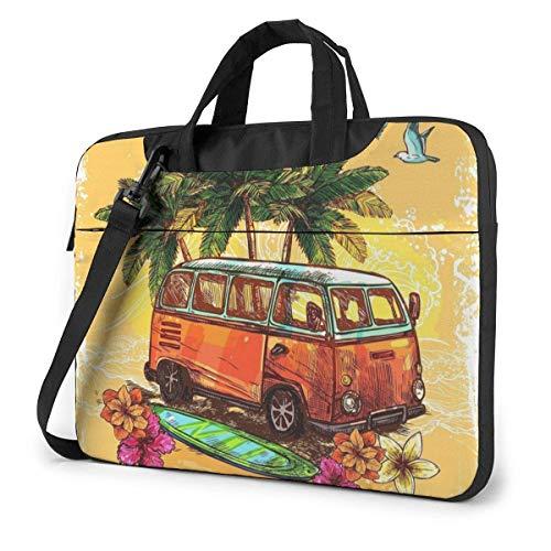 Hippie Classic Old Bus con Tabla de Surf Unisex Laptop Bag Messenger Bandolera para computadora Maletín Funda de Transporte