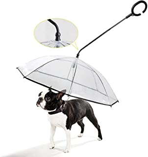 Yunhigh Transparent Pet Dog Umbrella with Leash and C Shape Handle - Waterproof for Dog Walking - Chhange The Uncomfortable Dog Raincoat