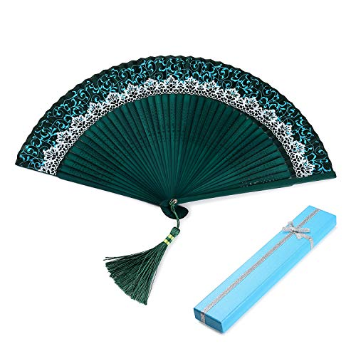 Hongyantech Ventagli pieghevoli Ventilatori a mano in bambù, ventagli di seta giapponesi verdi per ventaglio a mano per decorazione murale, decorazioni