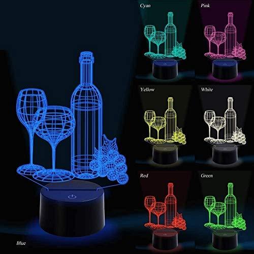 Illusie lamp nachtlicht 3D LED illusie lamp wijnglas bloem geschikt voor slaapkamer (kindergeschenken jongen paar meisjes) Kerstmis Valentijnsdag Black Friday Halloween