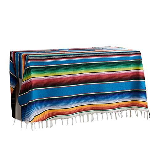 Couverture Mexicaine - Grande Couverture de Plage de Style Ethnique à Rayures en Coton carré - Nappe décorative pour Mariages mexicains, Tapis de Pique-Nique de Plage Fait Main à la Maison