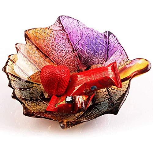 XZJJZ Plato de Frutas - de Cristal de la Hoja de la pequeña Fruta Placa sin Plomo de Vidrio Secos Placa de Frutas Placa de la Fruta Inicio del Cuenco de Fruta