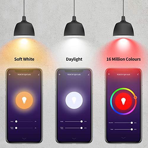 Alexa Glühbirnen E27 Smart LED-Lampe, 10W 1000LM AISIRER WLAN Mehrfarbige Dimmbare Birne App Steuern Kompatibel mit Alexa Echo, Google Home, kein Hub benötigt, Warmweiß / Kaltesweiß licht (4 Stück)