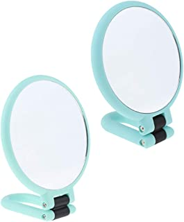 Blesiya 2Pcs 3X/15X Double Side Adjustable Makeup Mirror, Women Girls Makeup Mirror Double Sides (One Is Normal,another Is Magnifying) Green
