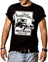MAKAYA Rockabilly Camiseta Hot Rod V8 Drag Race Hombre