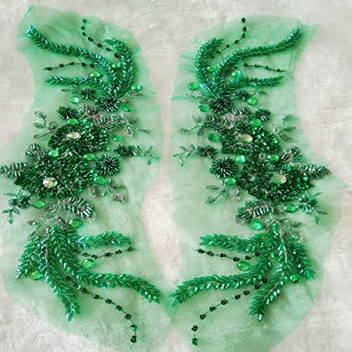 1 par de lentejuelas con cuentas verdes de encaje apliques exquisito 3d flor bordado...