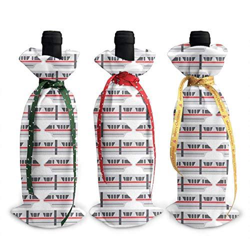 3 fundas para botella de vino, diseño de tren, color rojo, para decoración de mesa, para Navidad, fiesta, cena, regalo