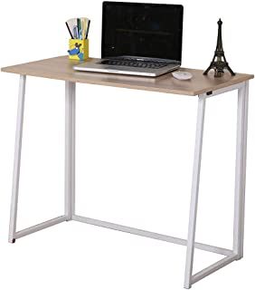 GreenForest Folding Computer Desk Small Home Office Desk Foldable Laptop Study Table Workstation for Small Places, Oak