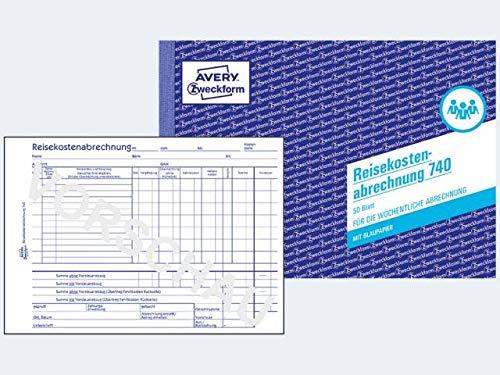 """Avery Zweckform© 740 Reisekostenabrechnung, DIN A5, fr w""""chentliche Abrechnung, 50 Blatt, weiá"""