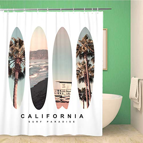 Awowee Bathroom Shower Curtain Surf Surfboard California Tee...