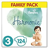 Pampers Couches Harmonie Taille 3 (6-10kg) 0% de compromis, 100% d'absorption, Ingrédients d'origine végétale, Hypoallergéniques, 124 Couches (Pack Familial)