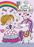Juego de cartas y escritura para niños con diseño de pequeña princesa.