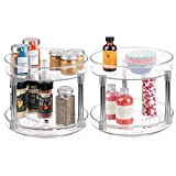 mDesign 2 Tier Lazy Susan Turntable Food Storage Container for Cabinets, Pantry, Fridge, Countertops - Spinning Organizer for Spices, Condiments - 9' Round, 2 Pack - Clear/Chrome