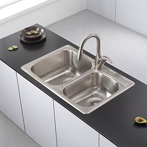 Kraus KTM32 Premier Kitchen Sink, 33-Inch, Double Bowl 60/40