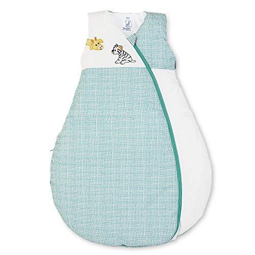 Sterntaler Schlafsack für Kleinkinder, Ganzjährig, Funktionsschlafsack Kuschelzoo, Reißverschluss, Größe: 110, Weiß/Grün