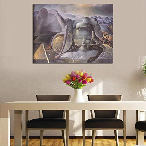 Flduod Endless Enigma Salvador Dalí Wandkunst Leinwand Poster Drucke Wandmalerei Ölgemälde Bilder für Schlafzimmer Wohnkultur HD-50x68cm-Frameless