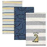 Gerber Baby Boys 3 Pack Knit Burp Cloth, Dinosaur Blue, One Size