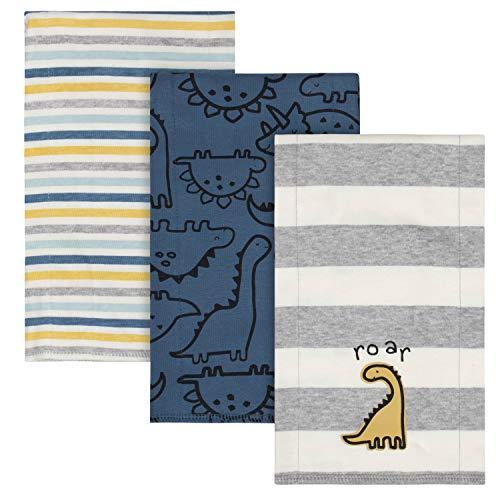 Gerber Pacote com 3 Regurgitadores de Malha para Bebês Meninos, Dinossauro azul, tamanho �nico