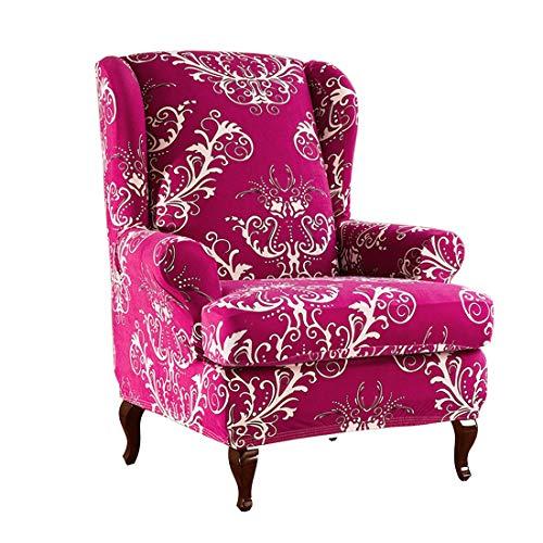 Nati Sesselbezug, Elastisch Ohrensessel Bezug mit Blumen Muster, Stretch Sesselhusse Sessel-Überwürfe, Stretch Husse für Ohrensessel Fernsehsessel Relaxsessel Rosenrot
