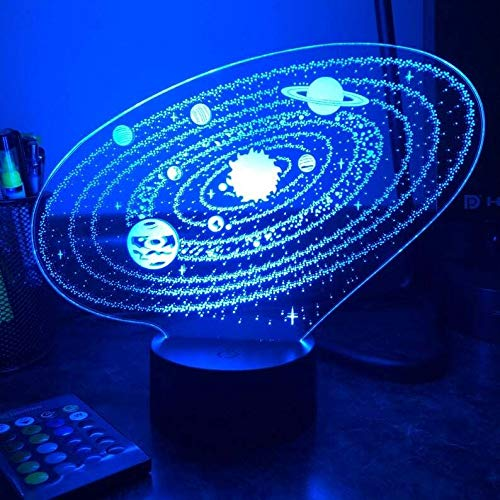 3D Optical Illusion Table Lamp -Outer Space Solar System 3D Led Night Light (Color : Crack Base no remote)