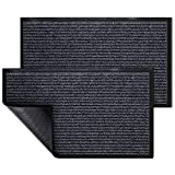 KMAT 2 Pack Door Mat Outdoor Indoor, Waterproof Anti-Slip Durable Rubber Doormat Low-Profile Design Floor Front Doormat Rugs for Entryway,Patio,Garage,High Traffic Areas(30