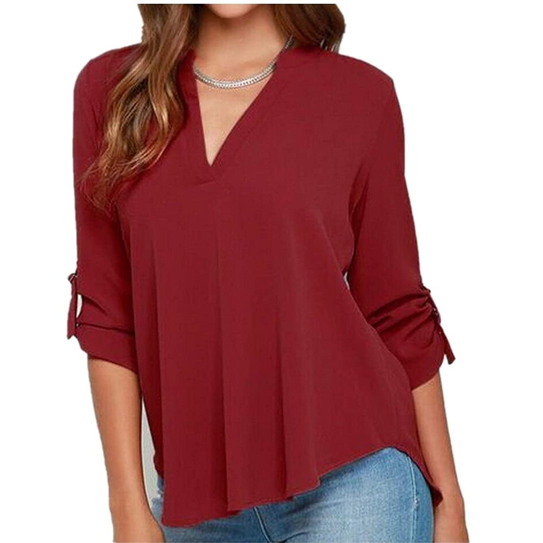 Women V Neck Cuffed Sleeve Casual Loose Chiffon Blouse Shirt Tops