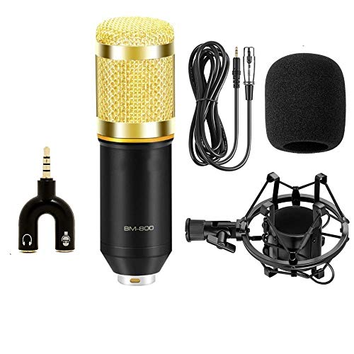 DEVICE OF URBAN INFOTECH BM 800 Condenser Microphone, Sound Studio Recording Dynamic Professional Condenser Microphone Set, Radio Broadcasting 3.5mm Audio Cable Foam Pc, (BM800+SPLITTER)