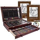 U.S. Art Supply 143 Piece-Mega Wood Box Art, Painting & Drawing Set with Color Mixing Wheel and Bonus 2-9'x12' Drawing Sketching Paper Pads