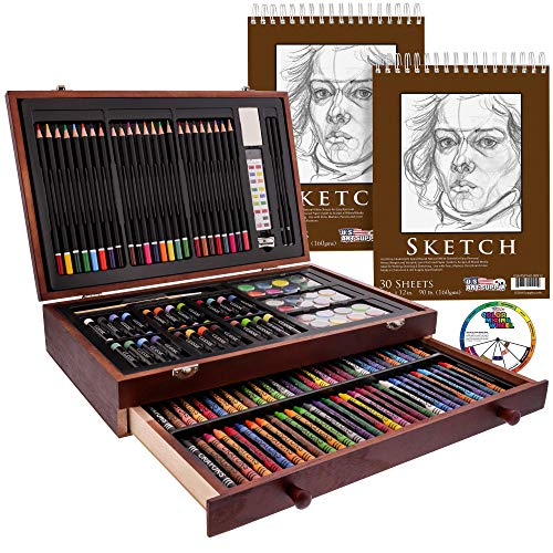 U.S. Art Supply 143 Piece-Mega Wood Box Art, Painting & Drawing Set with Color...