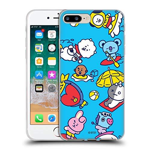 Head Case Designs Licenciado Oficialmente BT21 Line Friends Surf's Up The Gang Carcasa de Gel de Silicona Compatible con Apple iPhone 7 Plus/iPhone 8 Plus