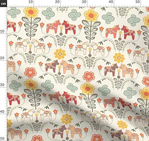 Pferd, Pony, Reiten, Illustration, Folklore, Dalapferde Stoffe - Individuell Bedruckt von Spoonflower - Design von Nadja Petremand Gedruckt auf Samt