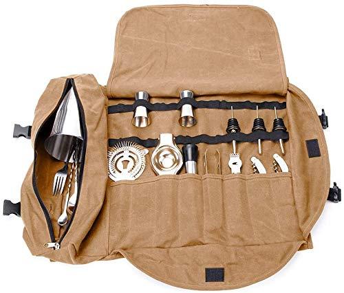 Super Bartender Kit Roll Bag,Set portátil Grande de cócteles Roll,Bolsa de Herramientas para Hacer cócteles en el hogar y el Lugar de Trabajo para el Viaje (sin incluir Herramientas) Café (Khaki)