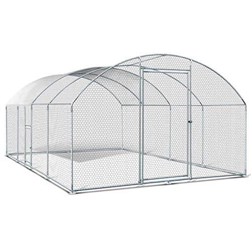 IDMarket - Enclos poulailler grillagé 3x5 M avec Porte latérale et Toit dôme Acier galvanisé 15 m²