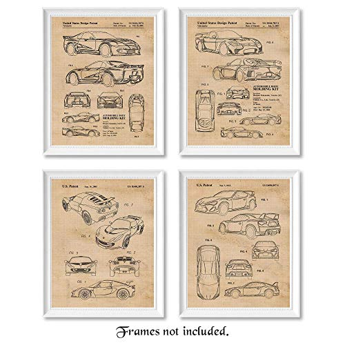 Vintage Toyota Supra, Mazda RX7, Lotus Exige, Subaru BRZ Patent Poster Prints, Set of 4 (8x10) Unframed Photos, Wall Art Decor Gifts Under 20 for Home Office, College Student, Teacher, Cars Coffee Fan