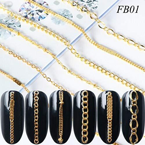 Meiyy Nageldecoratie, 6 stuks metalen kettingen, gemengde kettingen met strasssteentjes, decoratie voor nail art-lijnparels van zilver verguld, voor nageltips, accessoires voor manicure, doe-het-zelf Da-Te FB01