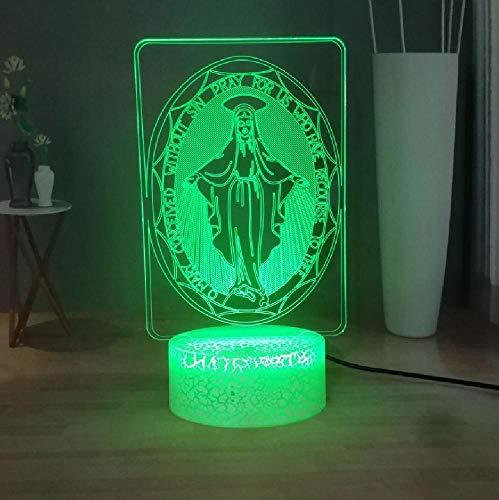 Bendita Virgen María LED Luz De Noche Cristianismo USB Sensor Táctil