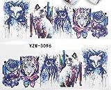 Spiritual Watercolor Abstract cat Owl Tiger Dreamcatcher Nail Decals Sticker Salon Quality Nail Art - 1 Sheet